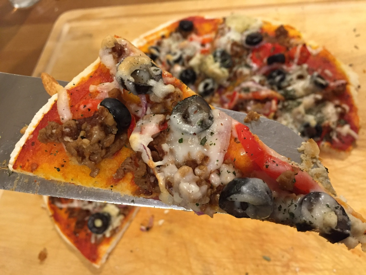 gluten-free pizza with roasted veggies