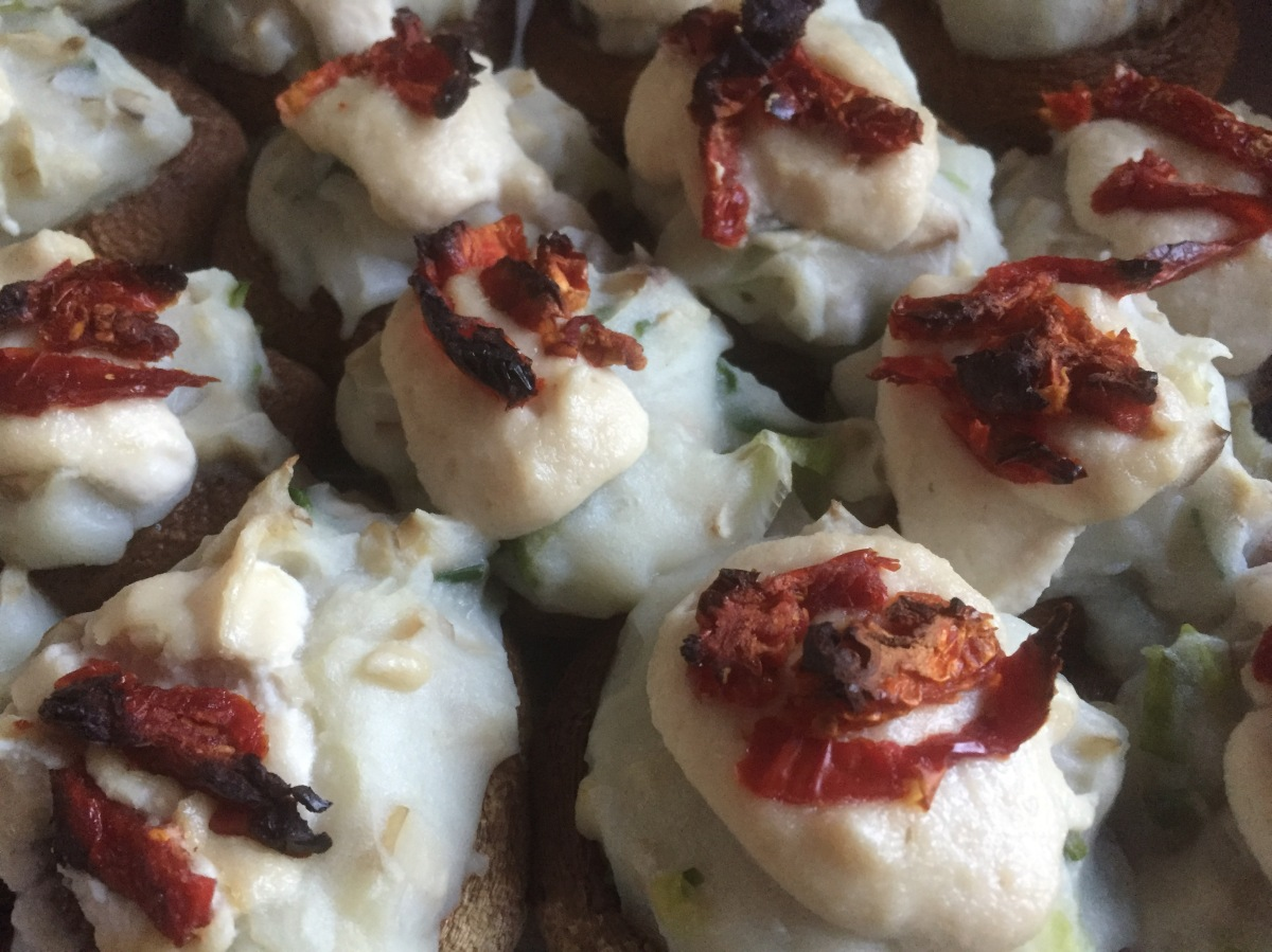 Mashed Potato Stuffed Mushrooms with Cashew Sour Cream