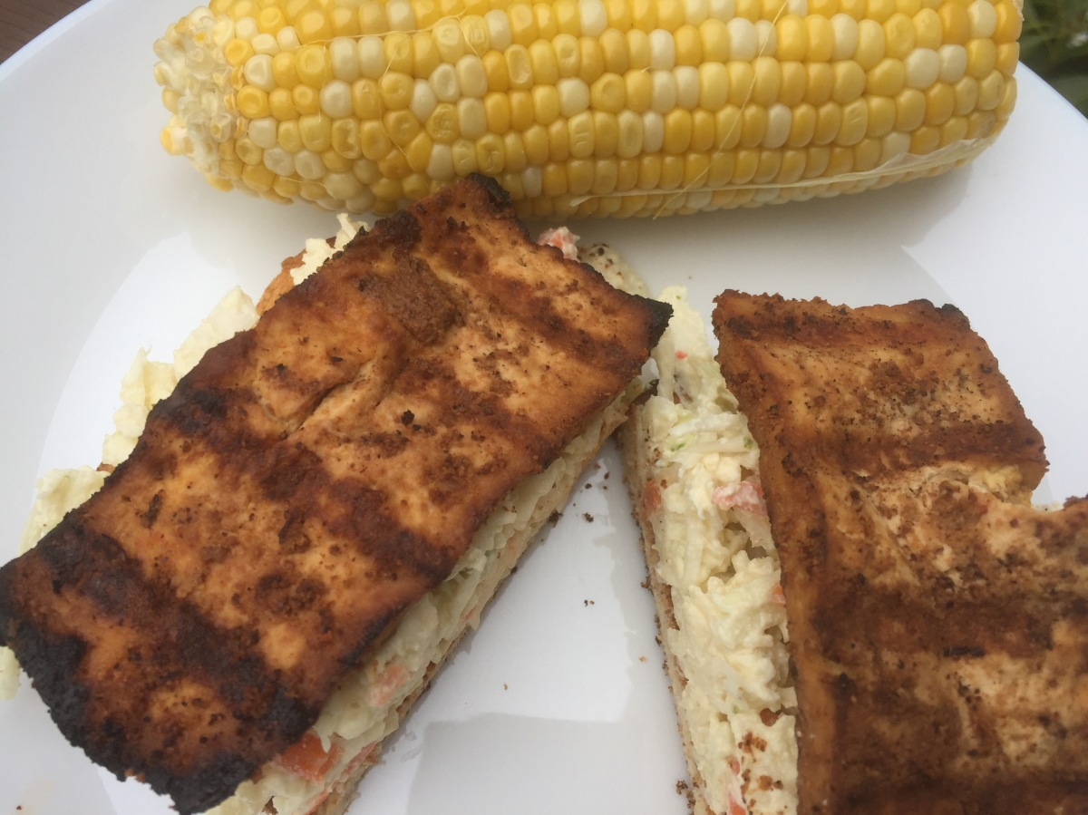 Grilled Tofu Sandwich with Spicy Coleslaw