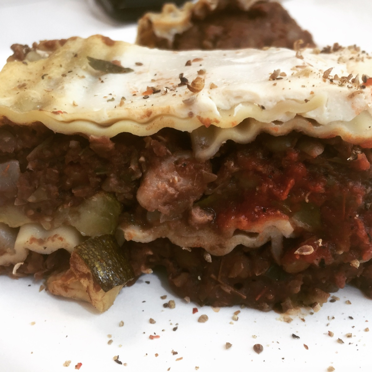 Zucchini Lasagna with Walnut and Brown Lentil Ragù