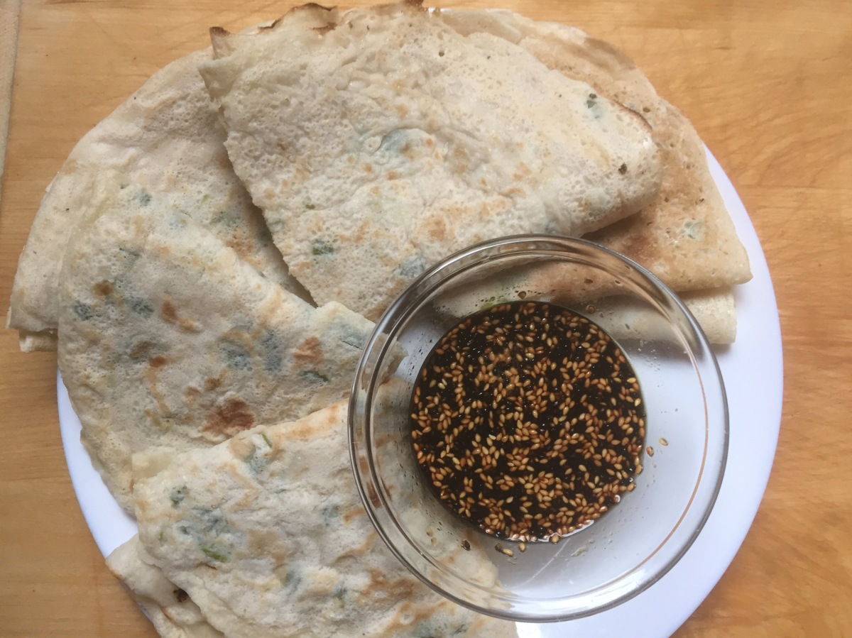 Scallion Crêpes with Sesame and Ginger Dipping Sauce