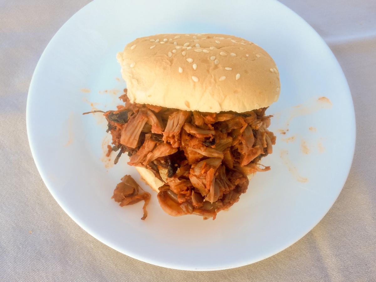 "Spicy and Smokey BBQ Pulled ""Pork"" Jackfruit"