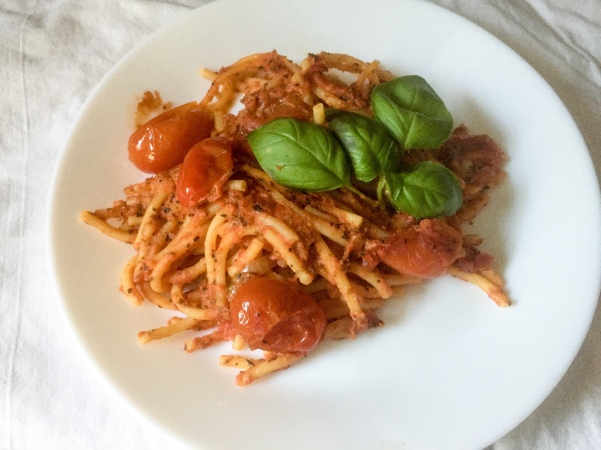 Baked Spaghetti Marinara, via Eat the Vegan Rainbow
