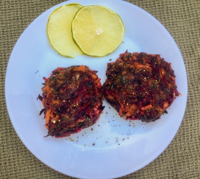 Beets, Carrots and Apple Latkes, via Eat the Vegan Rainbow