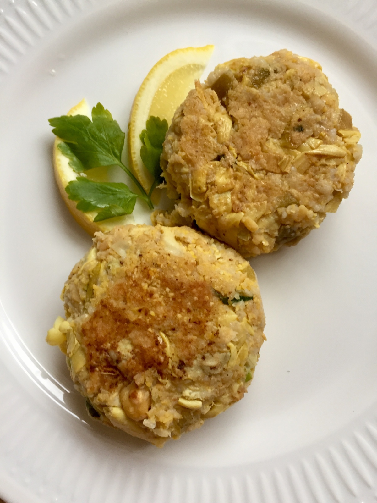 """Fish"" Cakes with Chickpeas and Artichoke Hearts"