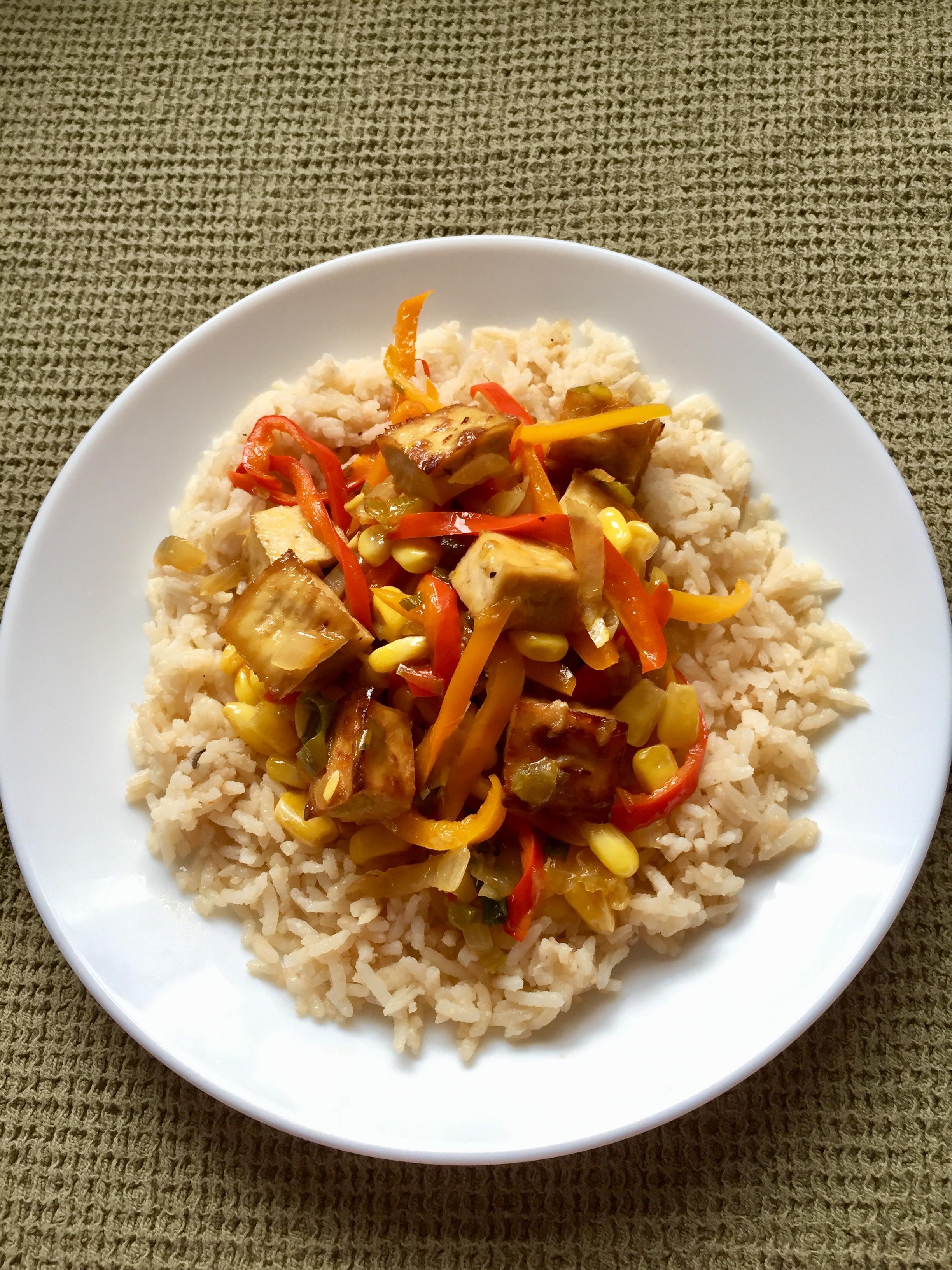 Tex-Mex Stir Fry with Crispy Tofu via Eat the Vegan Rainbow
