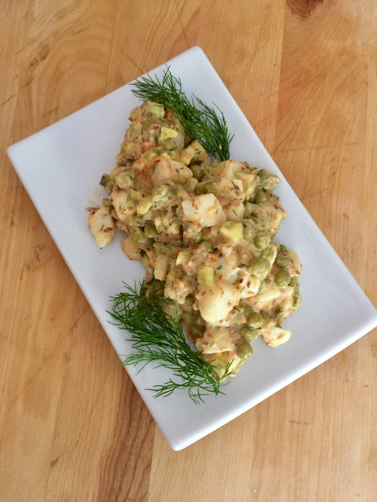 Vegan Olivier Salad with Toasted Sesame Seeds