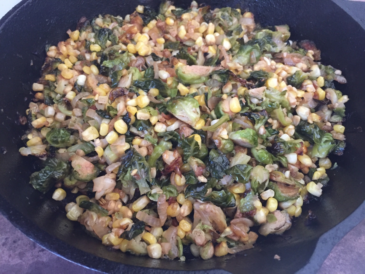 Caramelized Brussels sprouts with corn